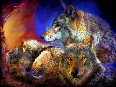 Wolves Mixed Media - Beneath A Blue Moon by Carol Cavalaris