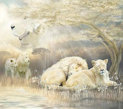 Lion Art Mixed Media - Beneath The Acacia Tree by Carol Cavalaris