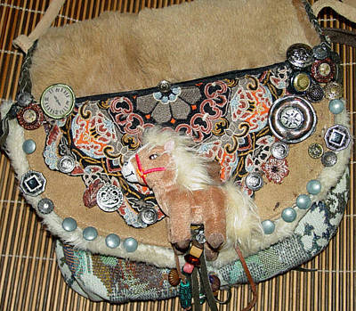 Horse Purse Mixed Media - Benedicte Horse An Saddle Bag by Lorraine Stone
