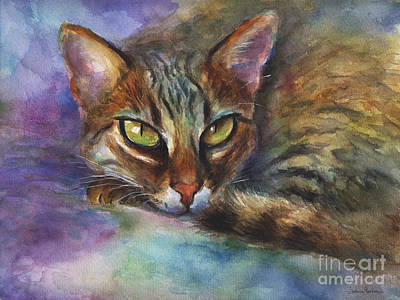 Watercolour Drawing - Bengal Cat Watercolor Art Painting by Svetlana Novikova