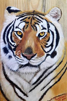 Tiger Woods Painting - Bengal Tiger On Wood by Debbie LaFrance