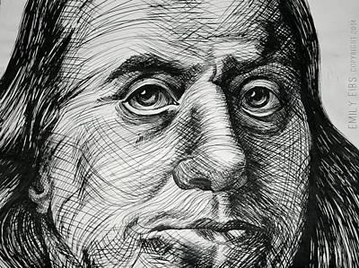 Benjamin Franklin Drawing - Benjamin Franklin by Emily Eibs