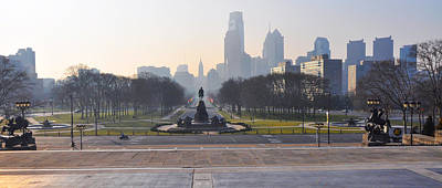 Benjamin Franklin Parkway In Panorama Print by Bill Cannon