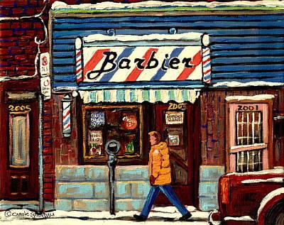 Jewish Montreal Painting - Bens Barbershop by Carole Spandau