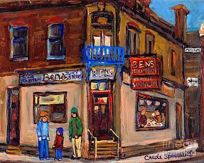 Montreal Memories Painting - Ben's Restaurant Montreal Memories Rue Metcalfe Juicy Steaks Best Original Jewish Landmark Painting  by Carole Spandau