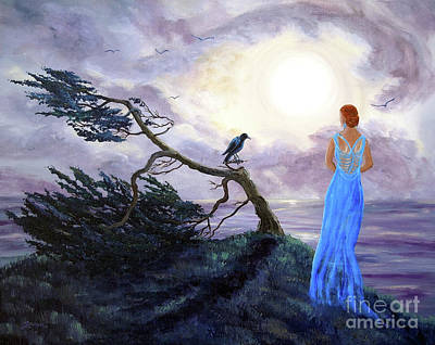 Bent Cypress And Blue Lady Print by Laura Iverson