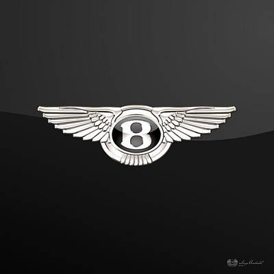 Transportation Photograph - Bentley - 3 D Badge On Black by Serge Averbukh