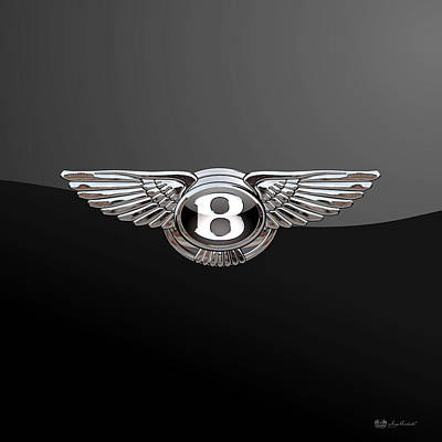 Bentley - 3d Badge On Black Print by Serge Averbukh