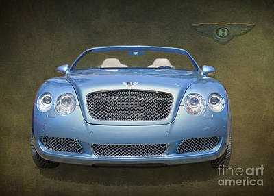 Blue Photograph - Bentley Automobile Facia By Darrell Hutto by J Darrell Hutto