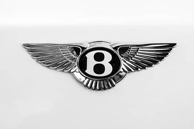 Car Photograph - Bentley Emblem -0081bw by Jill Reger