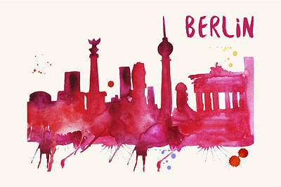 Berlin Germany Painting - Berlin Skyline Watercolor Poster - Cityscape Painting Artwork by Beautify My Walls