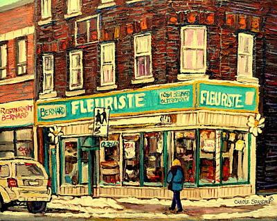 Jewish Restaurants Painting - Bernard Florist by Carole Spandau
