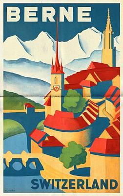 Switzerland Mixed Media - Berne Switzerland - Folded by Vintage Advertising Posters