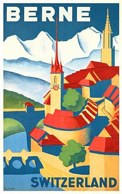 Switzerland Mixed Media - Berne Switzerland - Restored by Vintage Advertising Posters