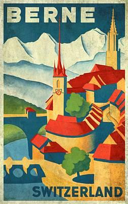Switzerland Mixed Media - Berne Switzerland - Vintagelized by Vintage Advertising Posters