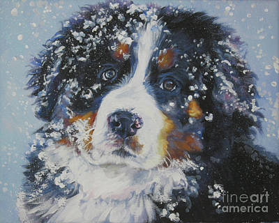Puppies Painting - Bernese Mountain Dog Puppy by Lee Ann Shepard
