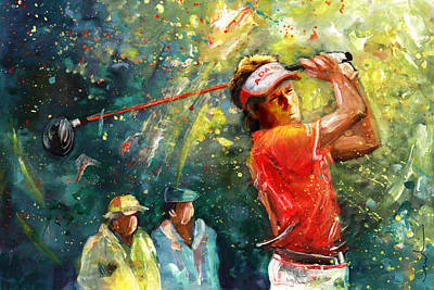 People Watching Painting - Bernhard Langer by Miki De Goodaboom