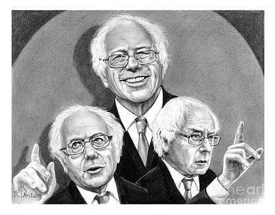 Famous People Drawing - Bernie Sanders-murphy Elliott by Murphy Elliott
