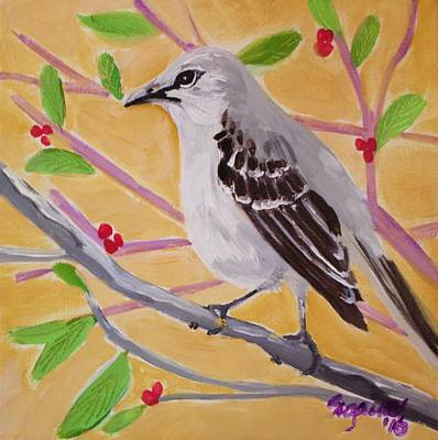 Mockingbird Painting - Berry Good by Suzaine Smith