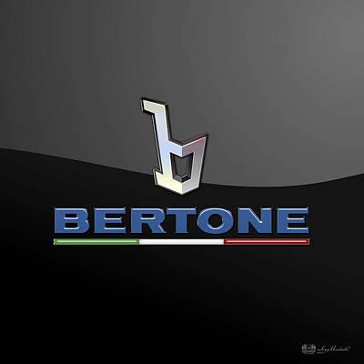Transportation Photograph - Bertone - 3 D Badge On Black by Serge Averbukh