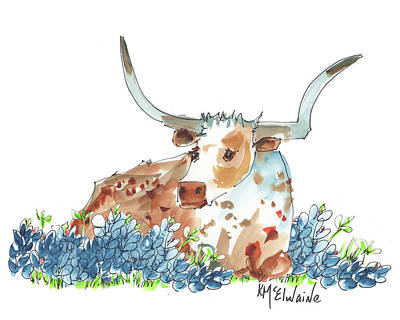 Bessie In The Bluebonnets Watercolor Painting By Kmcelwaine Print by Kathleen McElwaine
