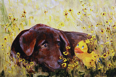 Chocolate Lab Puppy Painting - Best Friends by Carol Englehaupt