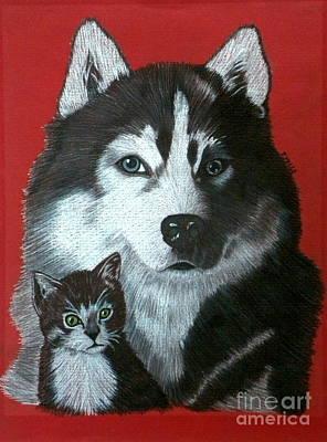 Siberian Husky Drawing - Best Friends by Terri Mills