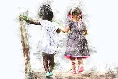Little Girls Mixed Media - Best Friends by Vel Verrept