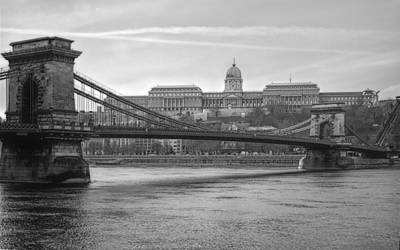 Budapest Attractions Photograph - Best View Of Buda Castle Bw by Joan Carroll