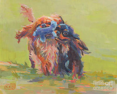 Puppies Painting - Besties by Kimberly Santini