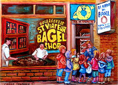 Montreal Cityscenes Painting - Bet You Cant Eat Just One by Carole Spandau