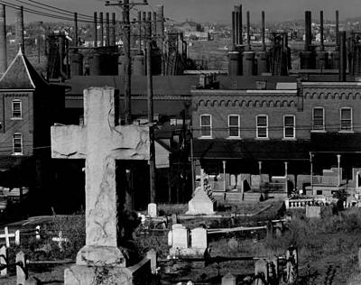 1930s Candid Photograph - Bethlehem Graveyard And Steel Mill by Everett