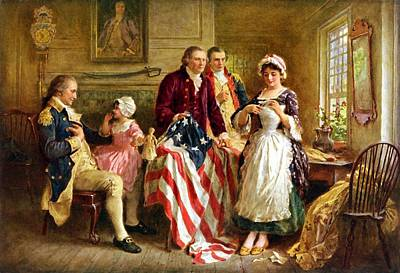 Us Flag Painting - Betsy Ross And General George Washington by War Is Hell Store