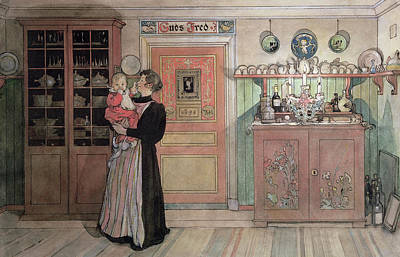 New Baby Art Drawing - Between Christmas And New Year by Carl Larsson