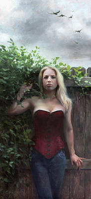 Self-portrait Painting - Between Fences And Freedom by Anna Rose Bain