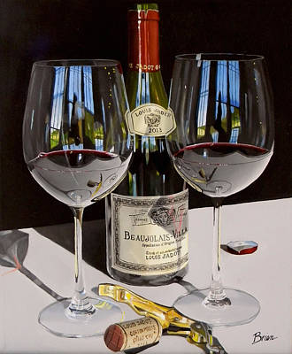 Wine Glass Painting - Between Friends by Brien Cole