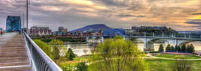 Between The Bridges Chattanooga Bridge Art Print by Reid Callaway