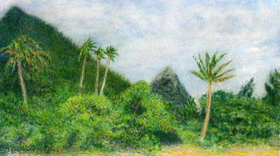 Kauai Painting - Between The Palms by Kenneth Grzesik