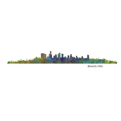 Cityscapes Painting - Beverly Hills City In La City Skyline Hq V1 by HQ Photo