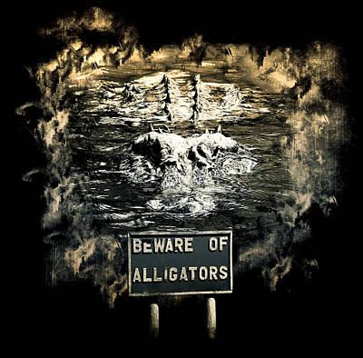 Alligator Mixed Media - Beware Of Alligators by Nannie Van der Wal