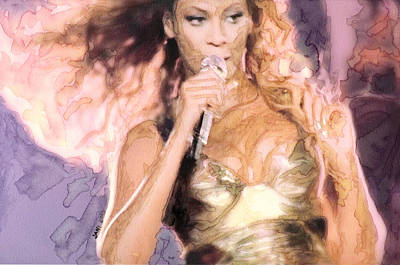 Celebrity Painting - Beyonce 3 by Jani Heinonen