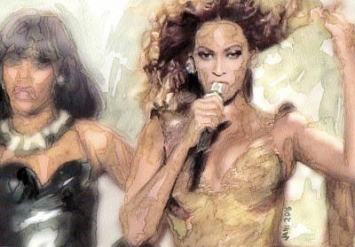 Jay Z Drawing - Beyonce 9 by Jani Heinonen