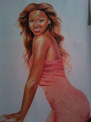 Jay Z Drawing - Beyonce' by Keith Burnette