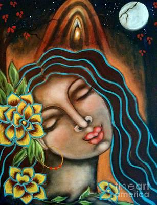 Sacred Feminine Moon Painting - Beyond The Beyond by Maya Telford
