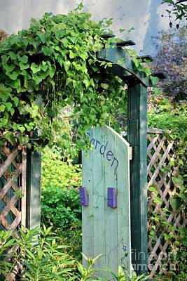 Charming Cottage Digital Art - Beyond The Garden Gate Door by Ella Kaye Dickey