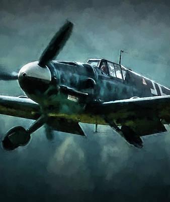 Digital Art - Bf-109 Intercept In Oil Triptych No 2 by Tommy Anderson