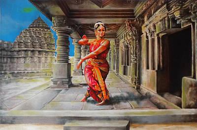 Indian Dance Drawing - Bharata Natyam Version 3 by Arun Sivaprasad
