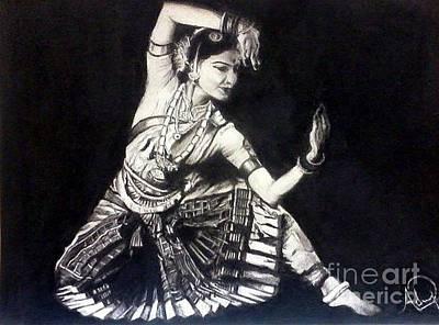 Indian Dance Drawing - Bharatnatyam by Adithya Balasubramanian