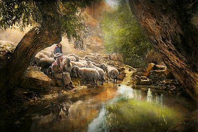 Bible - The Lord Is My Shepherd - 1910 Print by Mike Savad
