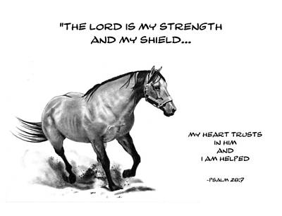 Bible Verse With Drawing Of Horse Print by Joyce Geleynse